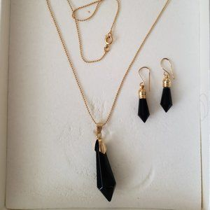 Necklace & Earrings Set Black